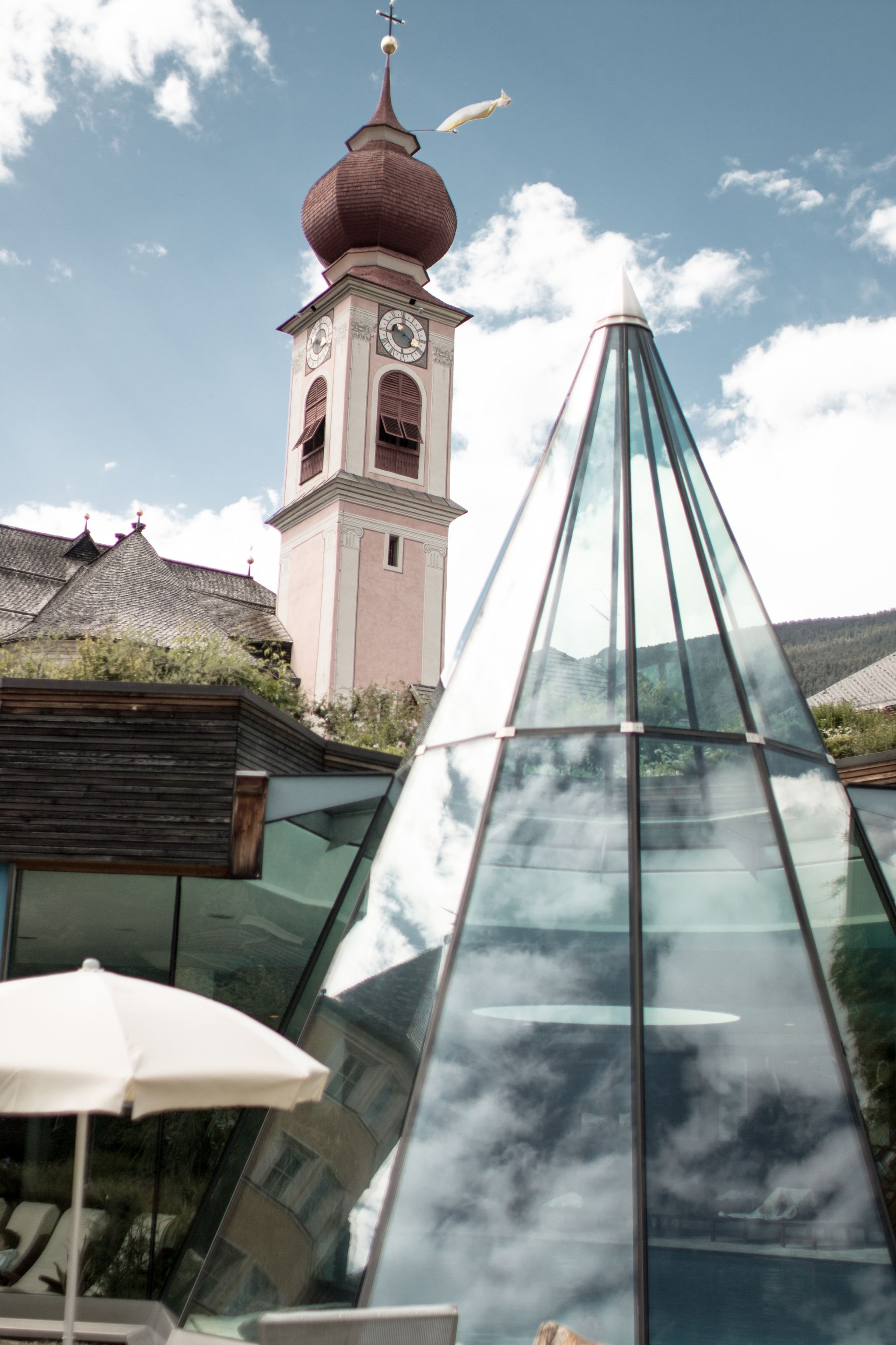 Adler Dolomites Ortisei Italy Hotel Review Exterior Pool Sunshine Glass Pyramid